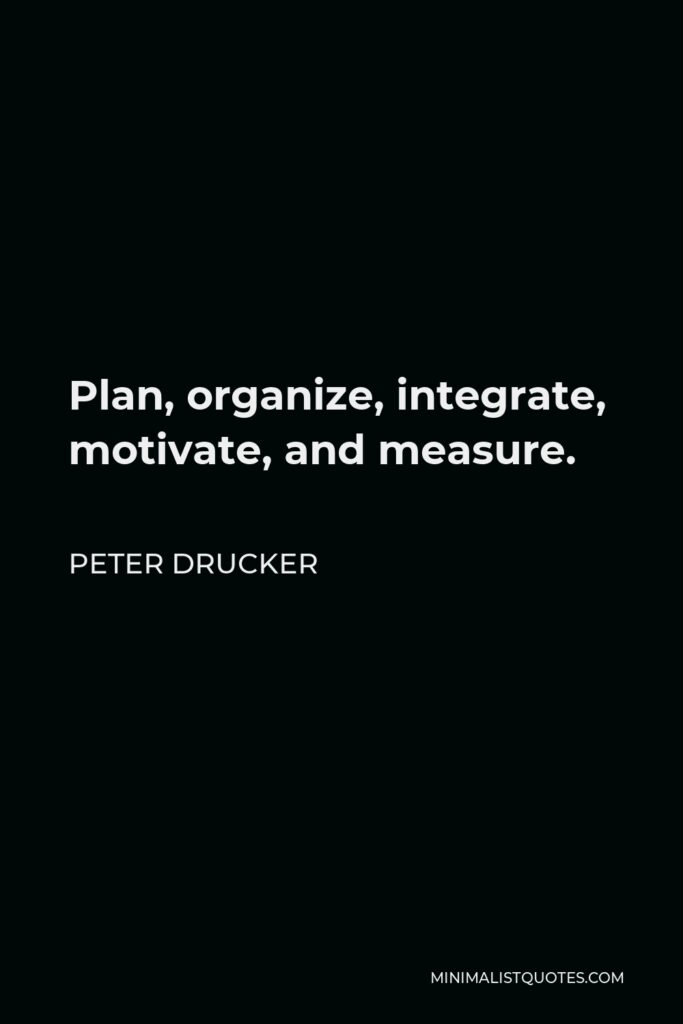 Peter Drucker Quote - Plan, organize, integrate, motivate, and measure.