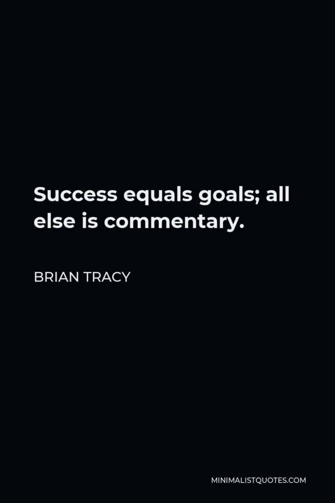 Brian Tracy Quote - Success equals goals; all else is commentary.