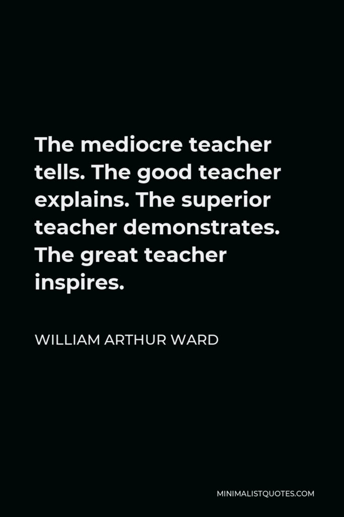William Arthur Ward Quote - The mediocre teacher tells. The good teacher explains. The superior teacher demonstrates. The great teacher inspires.
