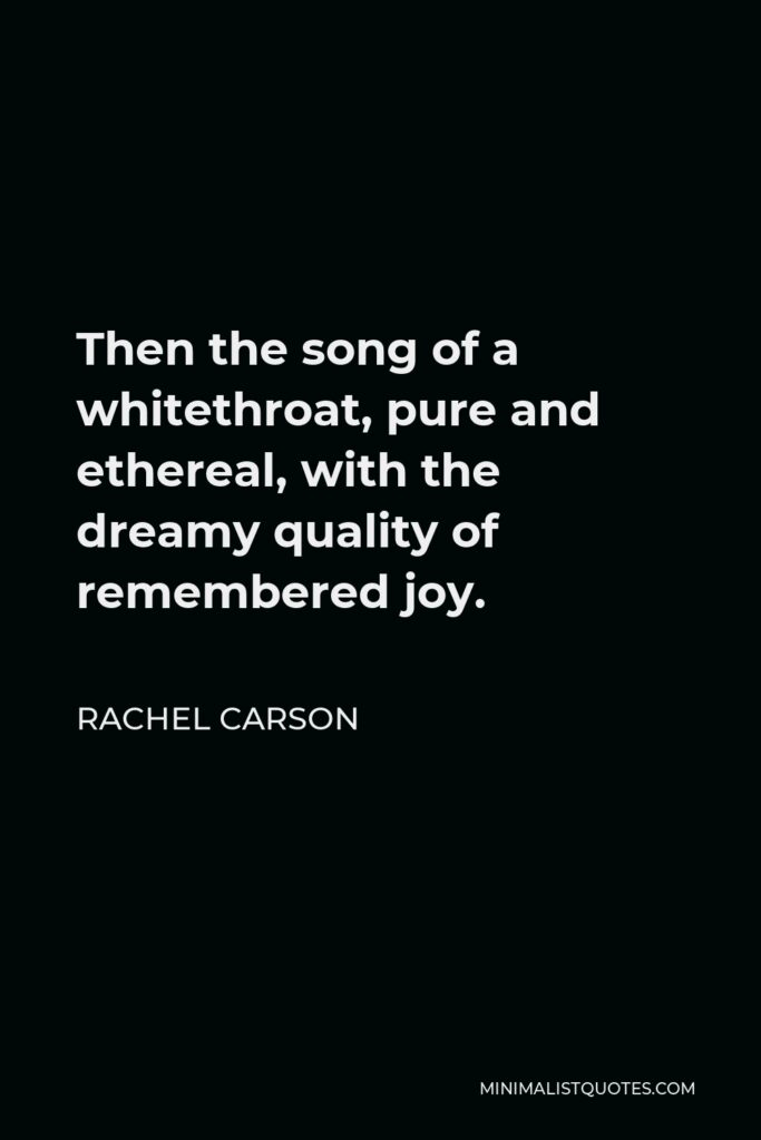 Rachel Carson Quote - Then the song of a whitethroat, pure and ethereal, with the dreamy quality of remembered joy.