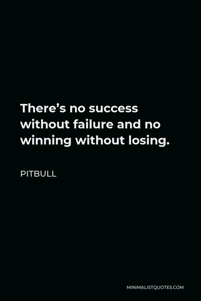 Pitbull Quote - There's no success without failure and no winning without losing.