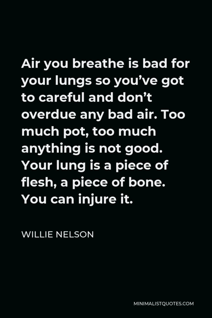 Willie Nelson Quote - Air you breathe is bad for your lungs so you've got to careful and don't overdue any bad air. Too much pot, too much anything is not good. Your lung is a piece of flesh, a piece of bone. You can injure it.