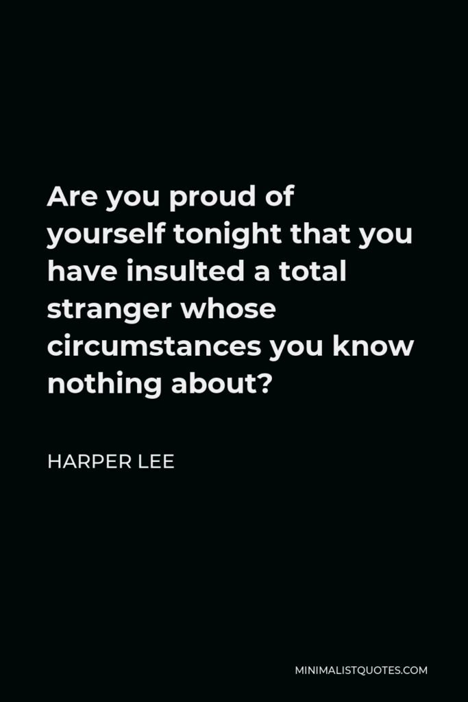 Harper Lee Quote - Are you proud of yourself tonight that you have insulted a total stranger whose circumstances you know nothing about?