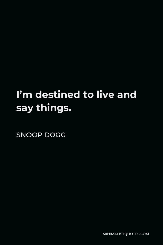 Snoop Dogg Quote - I'm destined to live and say things.