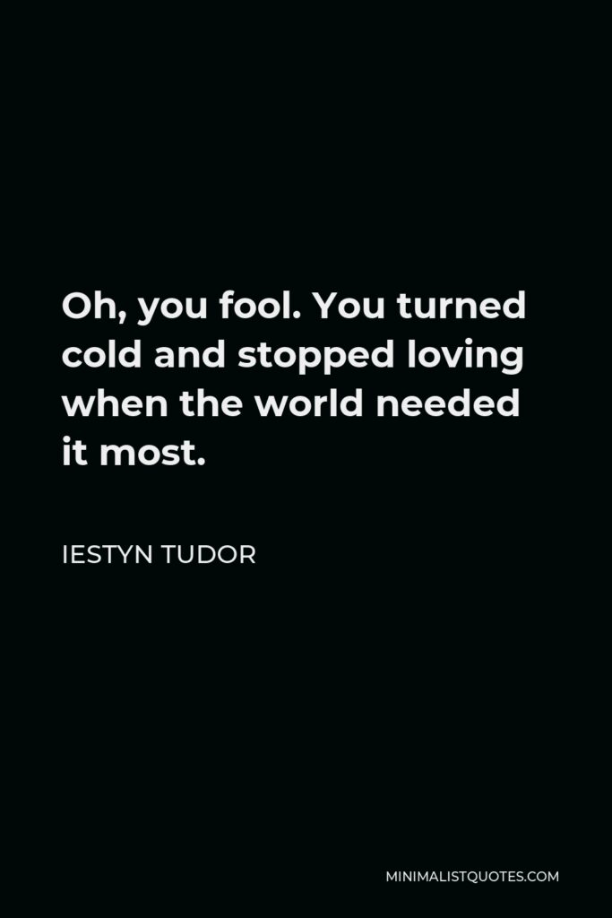 Iestyn Tudor Quote - Oh, you fool. You turned cold and stopped loving when the world needed it most.