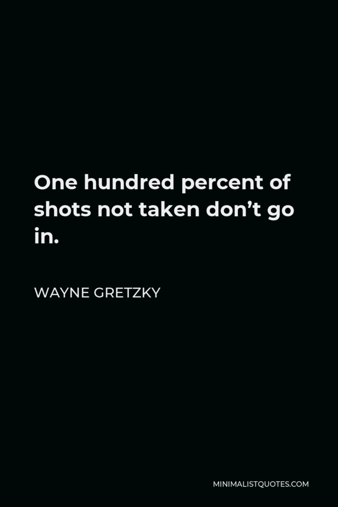 Wayne Gretzky Quote - One hundred percent of shots not taken don't go in.