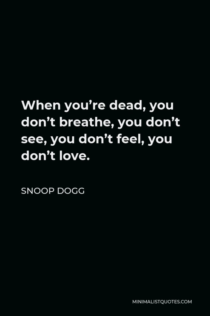 Snoop Dogg Quote - When you're dead, you don't breathe, you don't see, you don't feel, you don't love.