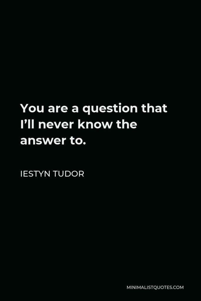Iestyn Tudor Quote - You are a question that I'll never know the answer to.