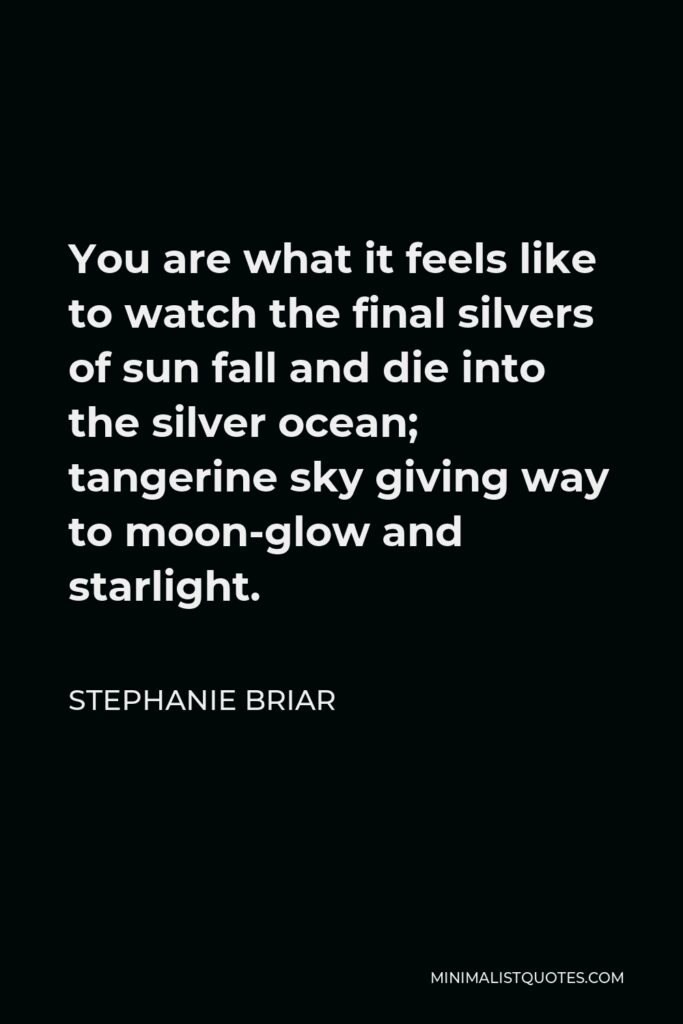 Stephanie Briar Quote - You are what it feels like to watch the final silvers of sun fall and die into the silver ocean; tangerine sky giving way to moon-glow and starlight.