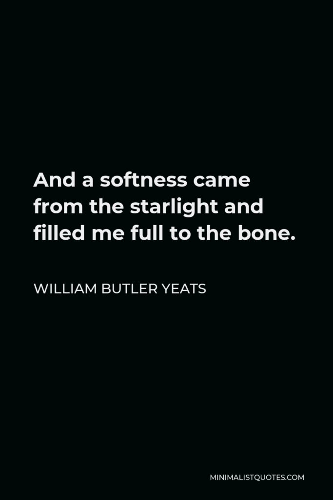 William Butler Yeats Quote - And a softness came from the starlight and filled me full to the bone.