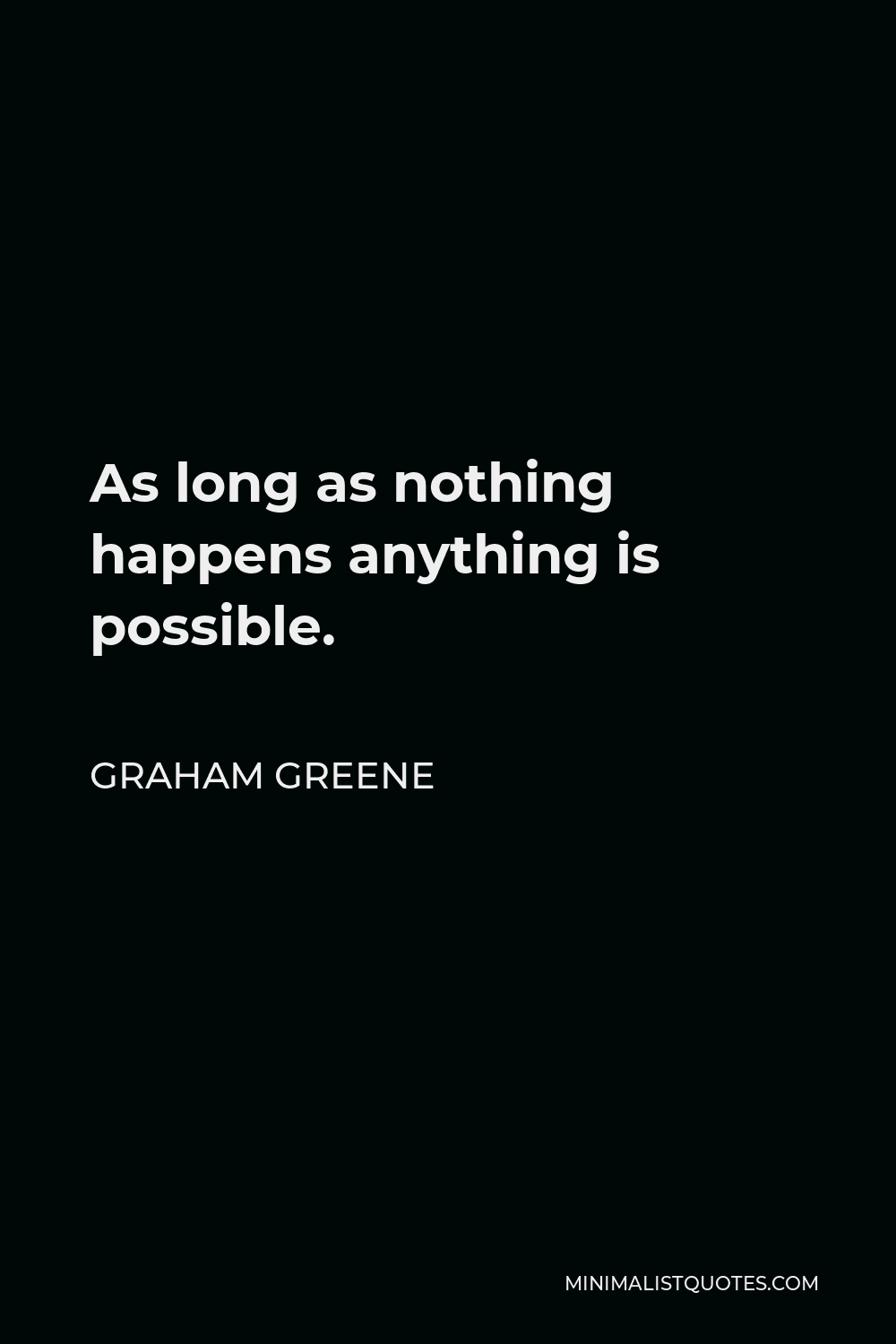 Graham Greene Quote - As long as nothing happens anything is possible.