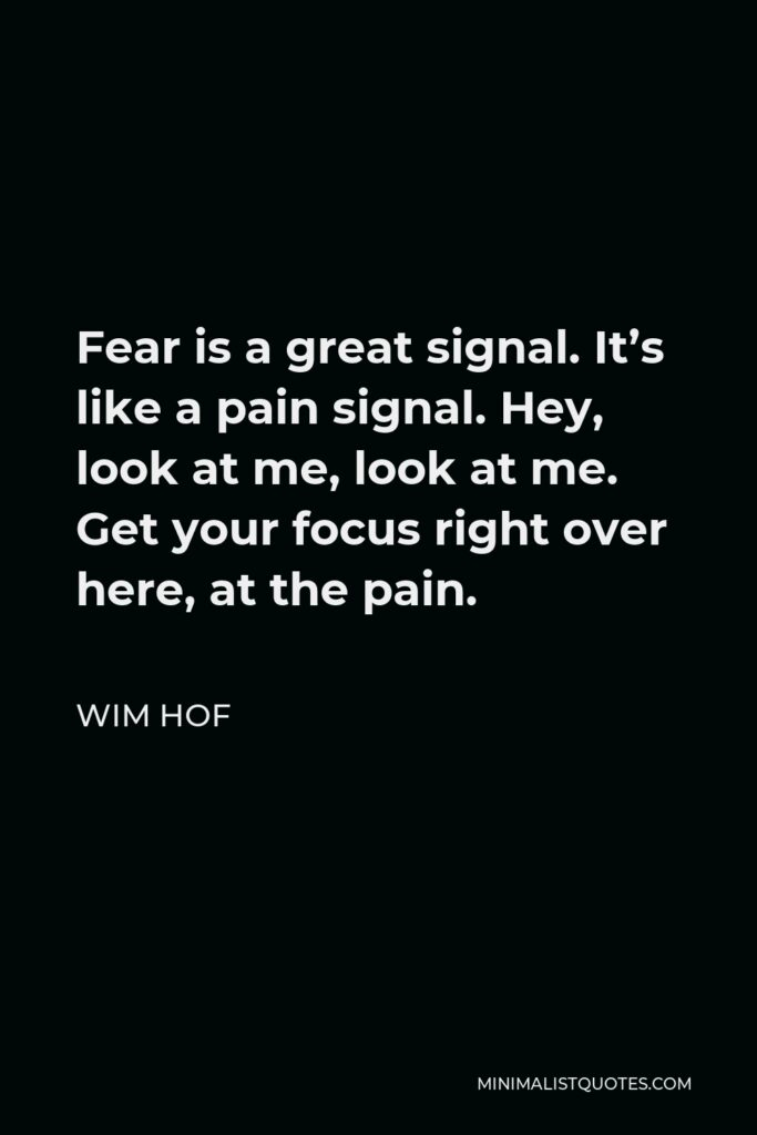 Wim Hof Quote - Fear is a great signal. It's like a pain signal. Hey, look at me, look at me. Get your focus right over here, at the pain.