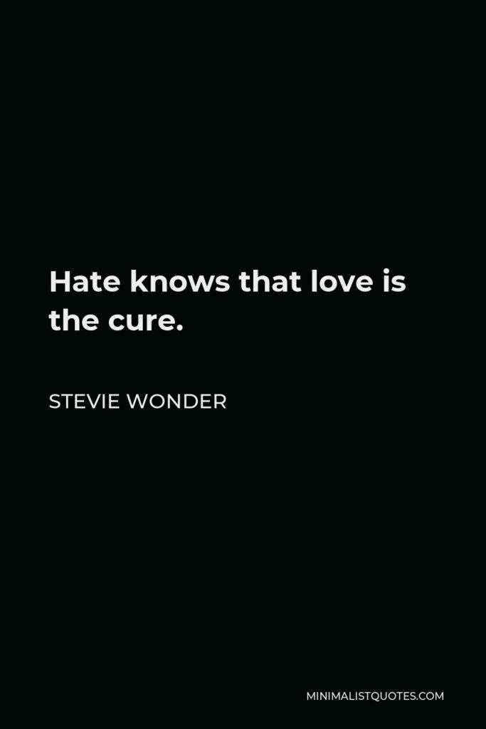 Stevie Wonder Quote - Hate knows that love is the cure.