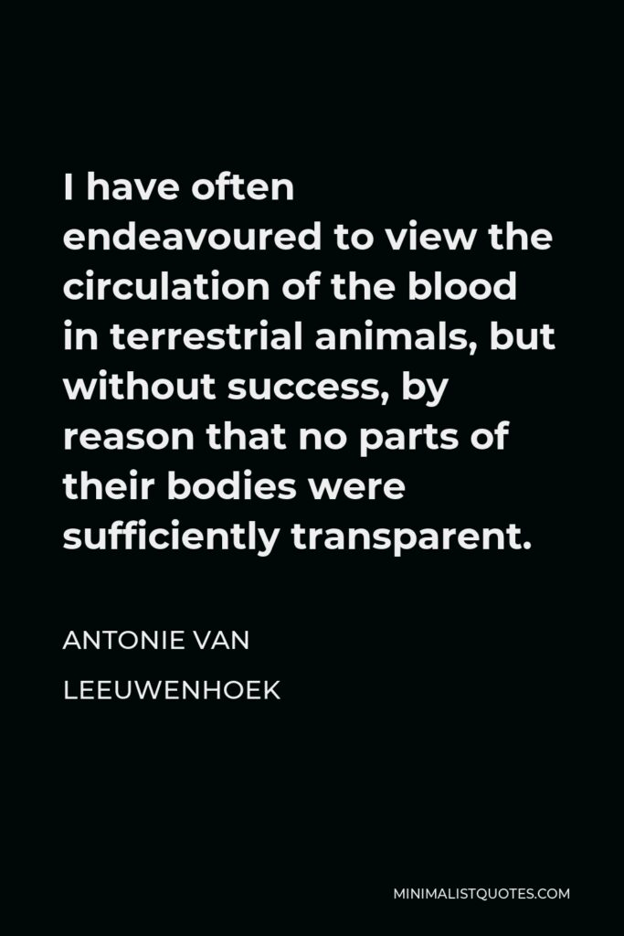 Antonie van Leeuwenhoek Quote - I have often endeavoured to view the circulation of the blood in terrestrial animals, but without success, by reason that no parts of their bodies were sufficiently transparent.