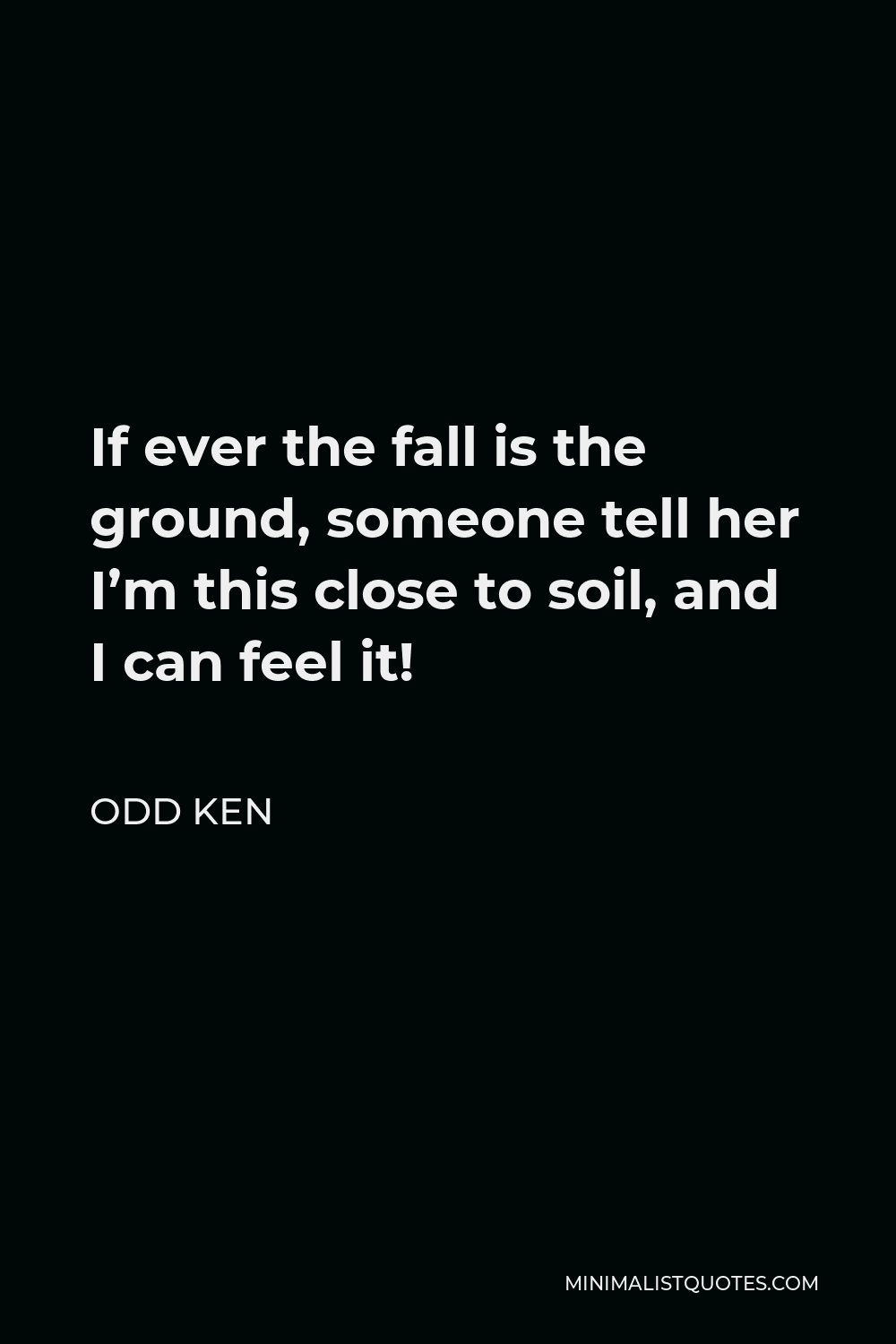Odd Ken Quote - If ever the fall is the ground, someone tell her I'm this close to soil, and I can feel it!
