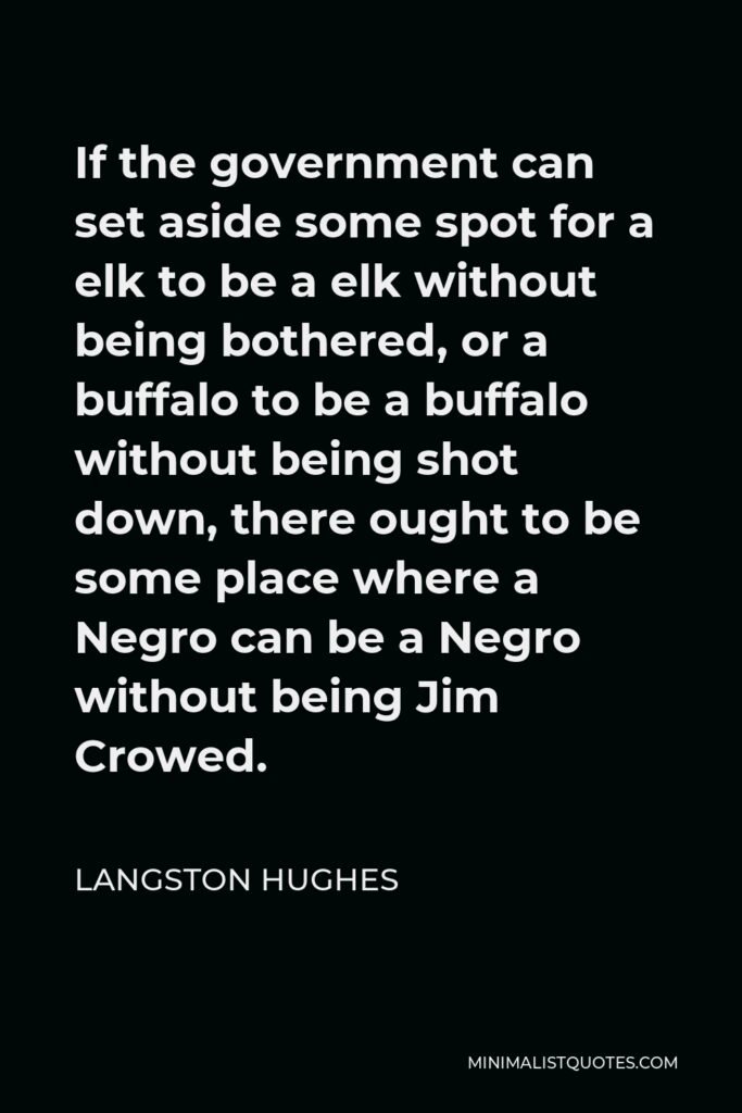Langston Hughes Quote - If the government can set aside some spot for a elk to be a elk without being bothered, or a buffalo to be a buffalo without being shot down, there ought to be some place where a Negro can be a Negro without being Jim Crowed.