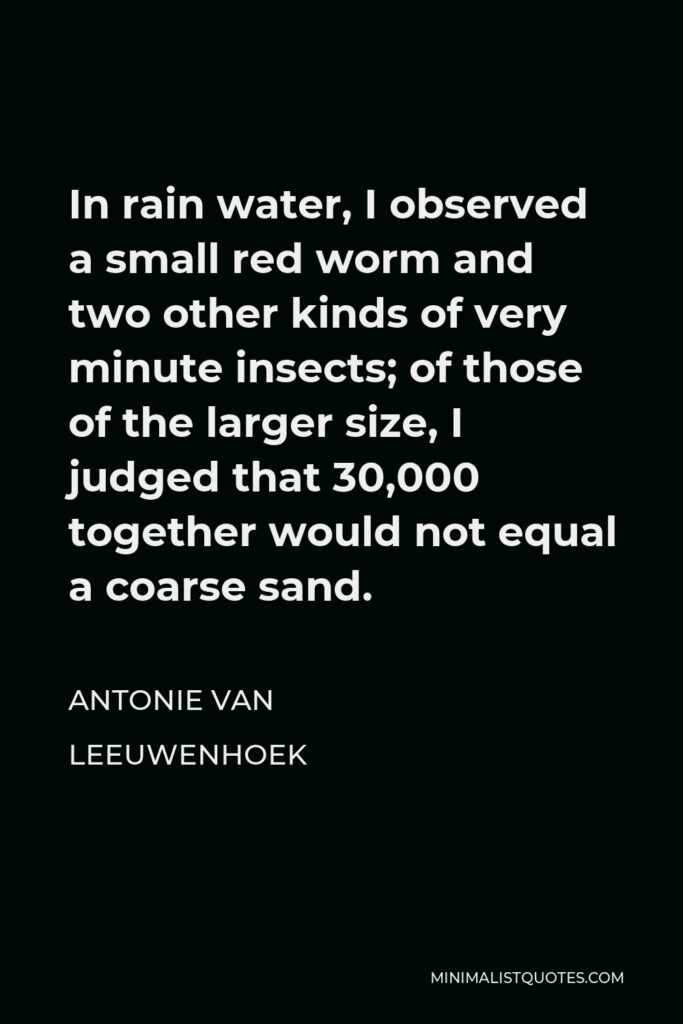 Antonie van Leeuwenhoek Quote - In rain water, I observed a small red worm and two other kinds of very minute insects; of those of the larger size, I judged that 30,000 together would not equal a coarse sand.