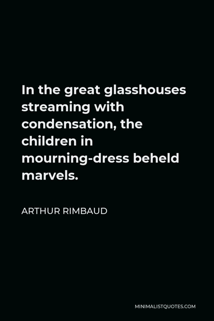Arthur Rimbaud Quote - In the great glasshouses streaming with condensation, the children in mourning-dress beheld marvels.