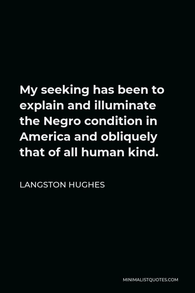 Langston Hughes Quote - My seeking has been to explain and illuminate the Negro condition in America and obliquely that of all human kind.