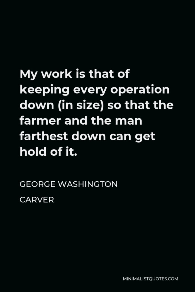 George Washington Carver Quote - My work is that of keeping every operation down (in size) so that the farmer and the man farthest down can get hold of it.