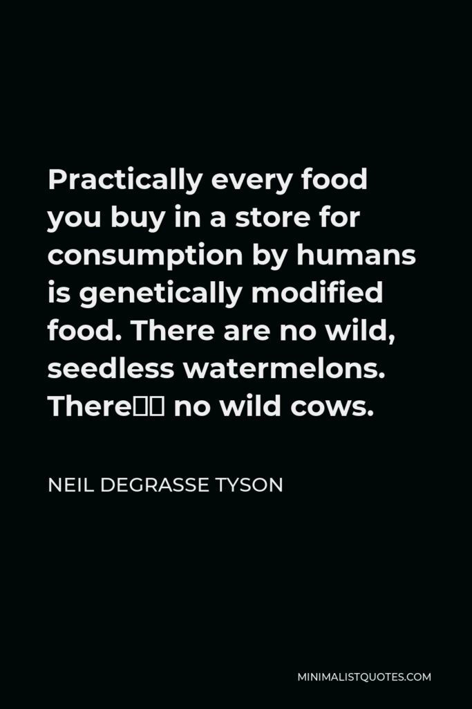 Neil deGrasse Tyson Quote - Practically every food you buy in a store for consumption by humans is genetically modified food. There are no wild, seedless watermelons. There's no wild cows.
