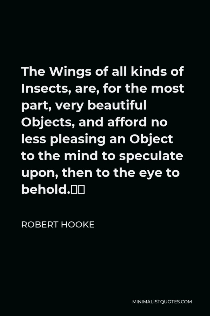 """Robert Hooke Quote - The Wings of all kinds of Insects, are, for the most part, very beautiful Objects, and afford no less pleasing an Object to the mind to speculate upon, then to the eye to behold."""""""
