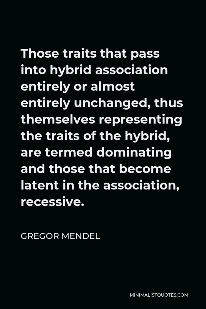 Gregor Mendel Quote - Those traits that pass into hybrid association entirely or almost entirely unchanged, thus themselves representing the traits of the hybrid, are termed dominating and those that become latent in the association, recessive.